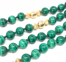 Load image into Gallery viewer, Estate Malachite 14K Yellow Gold Necklace 31""