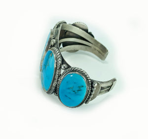 5 Stone Dry Creek Turquoise Sterling Silver Cuff Bracelet