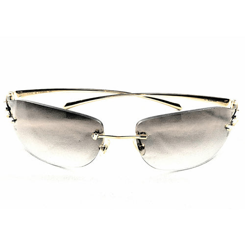Cartier 110 Panthere Rimless Sunglasses Gold Frame Unisex