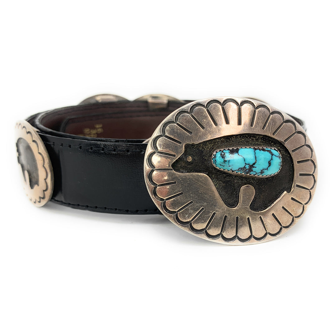 Native American Navajo Turquoise Sterling Silver Bear Concho Belt - Signed