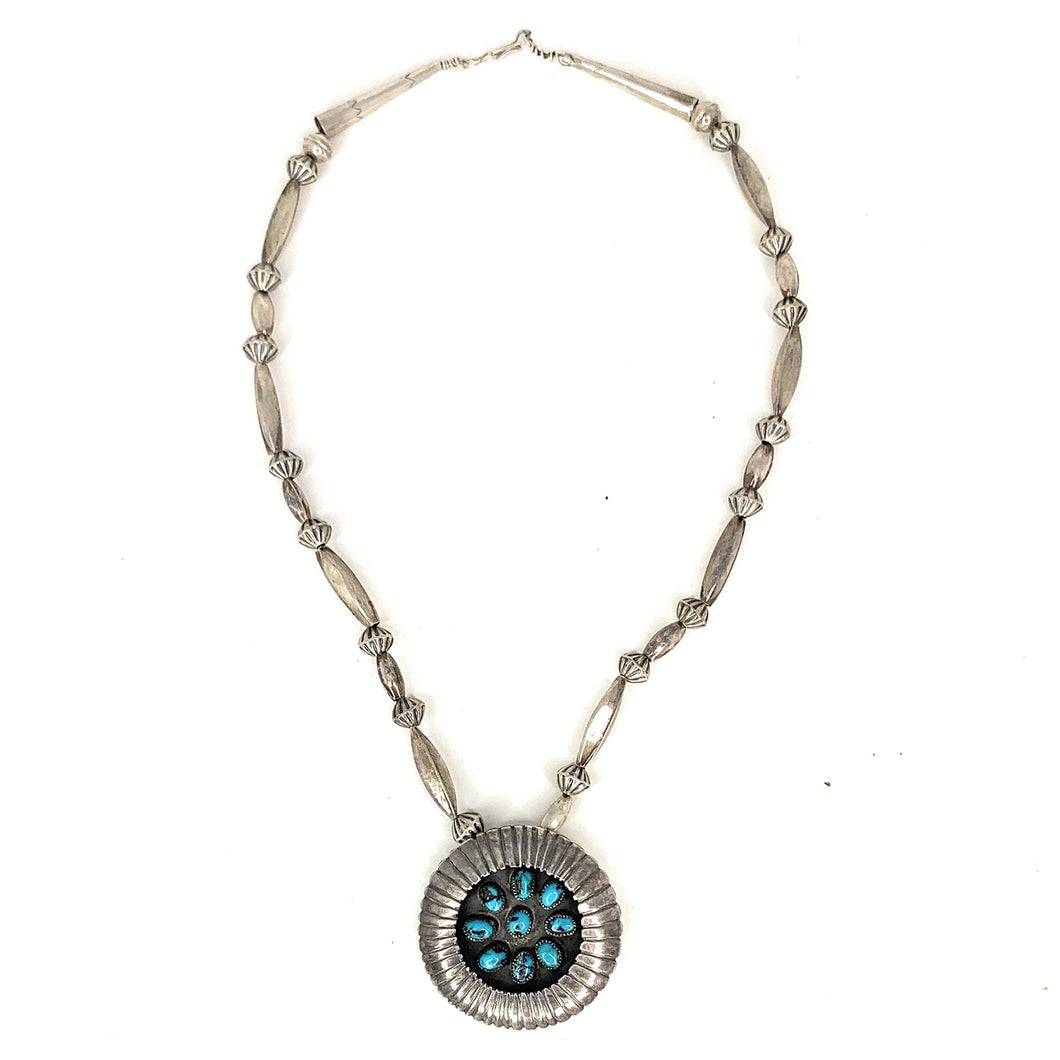 Vintage Navajo Sterling Silver Turquoise & Melon Beaded Brooch Pendant Necklace<