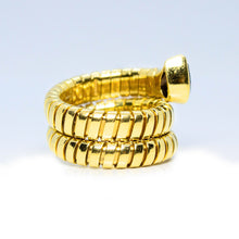 Load image into Gallery viewer, BVLGARI 18 Karat Gold Tubogas Serpenti Snake Iolite Cocktail Ring - Sz. 6