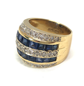 Sapphire and Diamond Princess Cut 18K Yellow Gold Ring Size 6