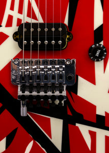 "EVH ""Frankenstrat""  Striped Series Electric Guitar (Red with Black and White Stripes) Van Halen w/ Case"