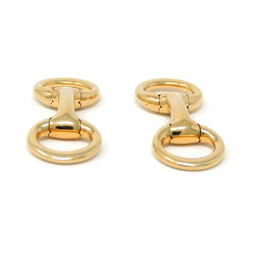 Authentic Hermes Mors de Filet Gold Cufflinks, 18K Yellow Gold
