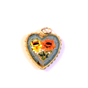 Colorful Mosaic Floral Heart Charm Pendant