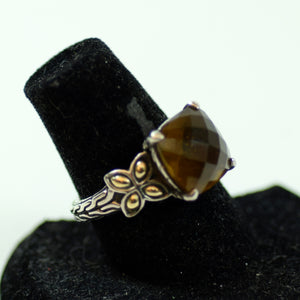 John Hardy Sterling Silver and 18 Karat Gold Checkerboard Cut Smokey Quartz Ring, Size 7