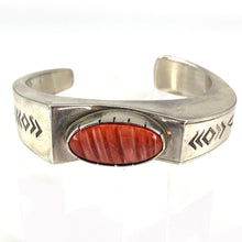 Load image into Gallery viewer, Native American Banded Sterling Silver Red Agate Cabochon Cuff Bracelet