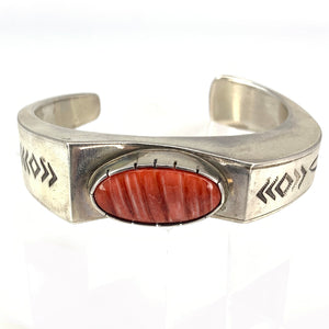 Native American Banded Sterling Silver Red Agate Cabochon Cuff Bracelet