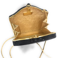 Load image into Gallery viewer, Judith Leiber Black Swarovski Crystal Minaudiere Snap Evening Bag Clutch