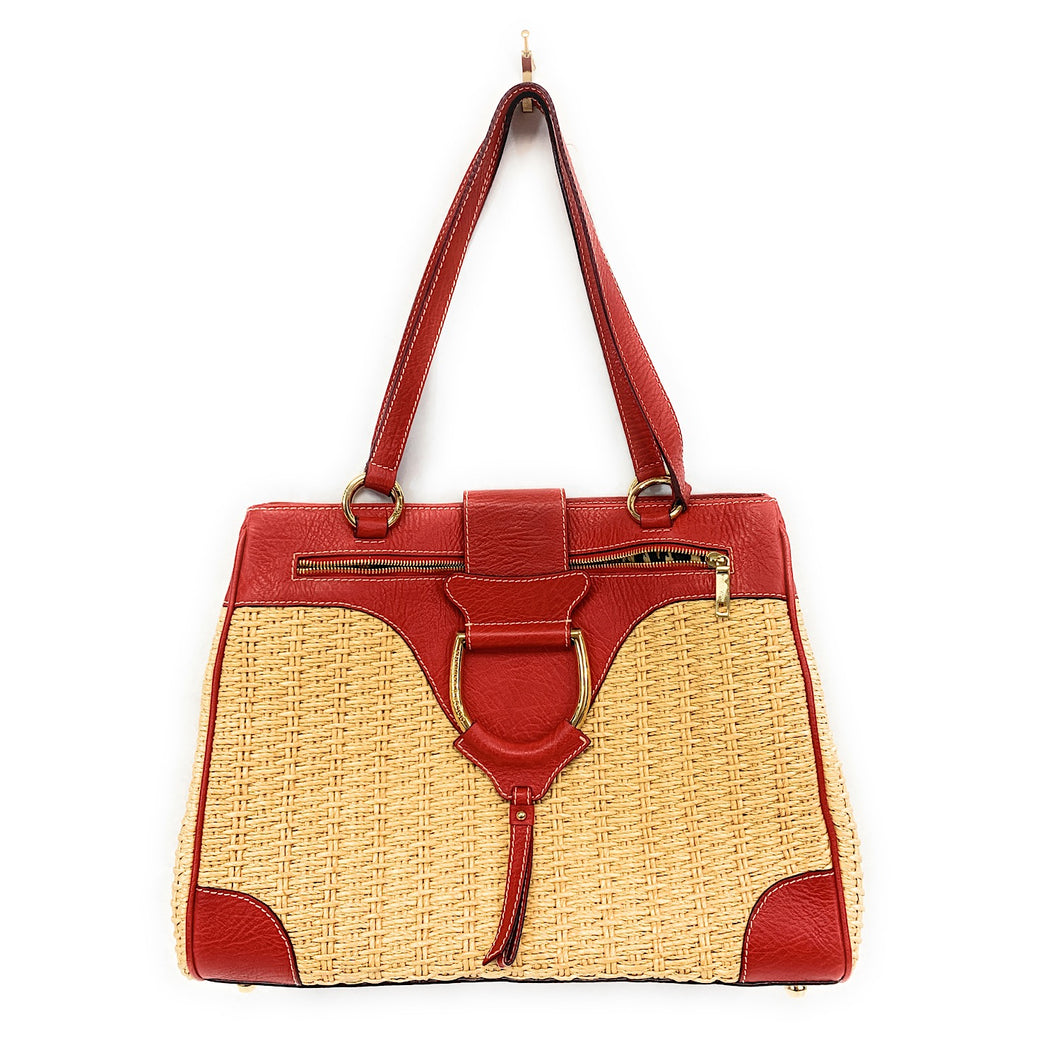 Dolce and Gabbana Leather and Wicker Tote Bag