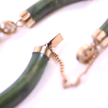 Load image into Gallery viewer, 14 Karat Gold and Green Nephrite Jade Chinese Style Jewelry Bracelet