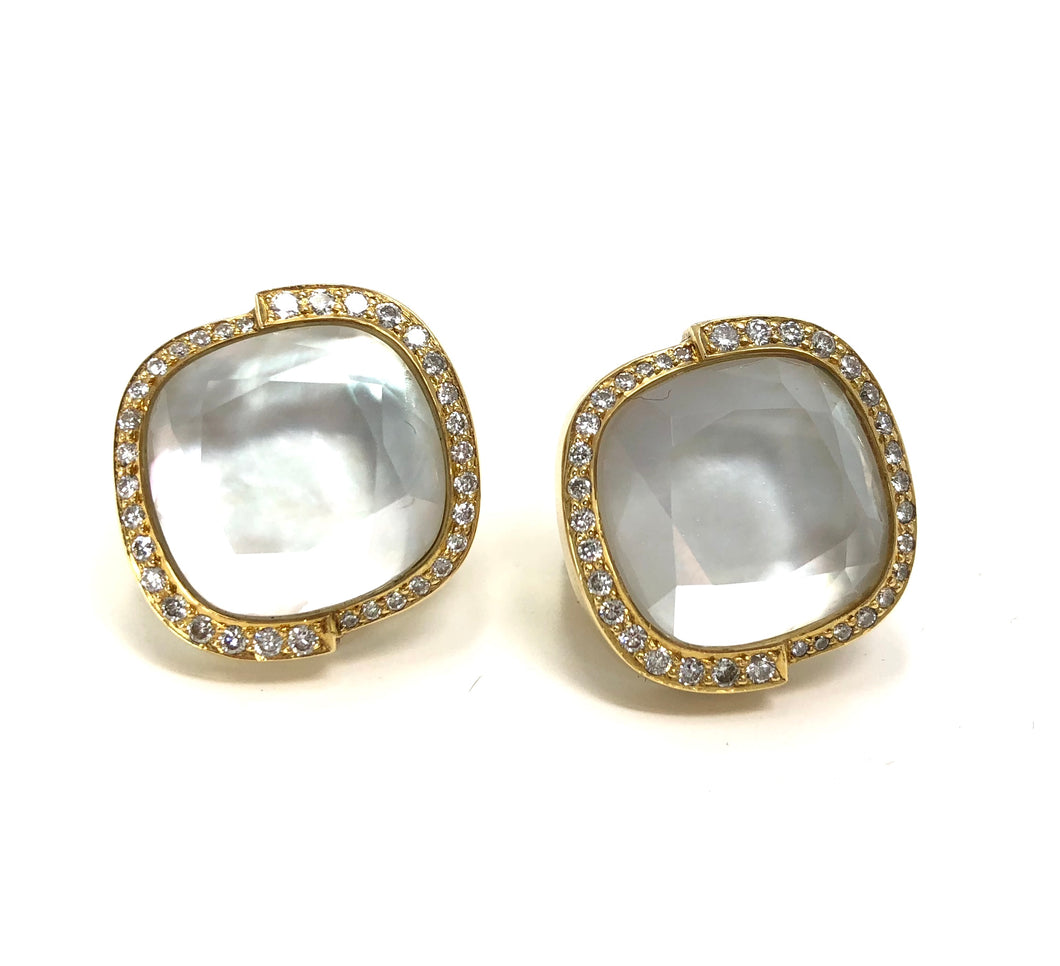 Stephen Webster Diamond 18K Gold Mother Pearl Quartz Doublet Earrings