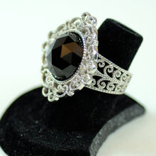 Load image into Gallery viewer, Leslie Greene Sterling Silver, Diamond, and Black Spinel Floral Ring, Size 6.25