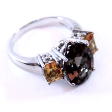 Load image into Gallery viewer, Samuel Aaron Sterling Silver and Smokey Quartz and Amber Ring