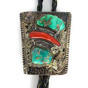 Vintage Navajo Turquoise & Red Branch Coral Bolo Tie