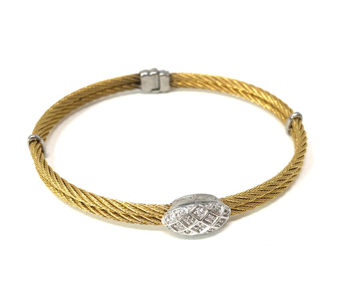 Charriol Double Cable Diamond Bracelet Round Diamond Accent .15cctw