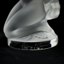 "Load image into Gallery viewer, LALIQUE Crystal Frosted Diana with Fawn, Signed ""M. Lalique 10.21.93"""
