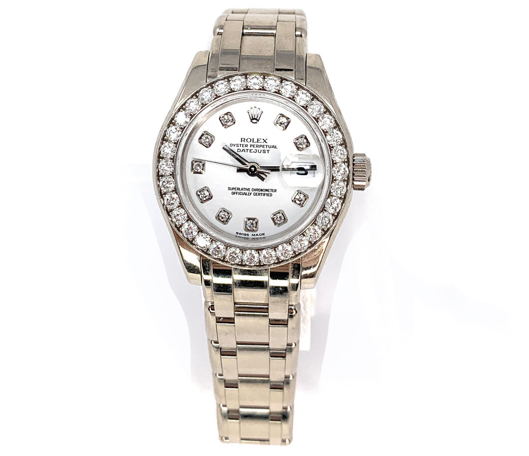 ROLEX Pearlmaster 18K White Gold & Diamond Oyster Perpetual Women's Watch