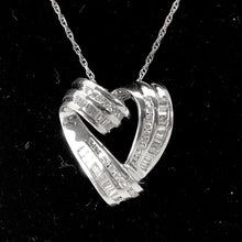 Load image into Gallery viewer, Channel Set Diamond Heart Pendant in 14K White Gold