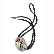 Load image into Gallery viewer, Vintage Navajo Handmade Sterling Silver Turquoise Red Coral Bear Claw Bolo Tie