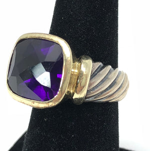 David Yurman Amethyst Noblesse Cable 14kt and 925 Sterling Silver Ring Size 6