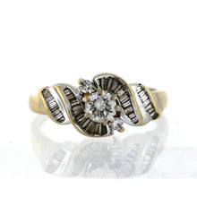 Load image into Gallery viewer, Vintage 14K Yellow Gold 0.93ctw Baguette & Round Diamond Engagement Ring- Sz. 6¾