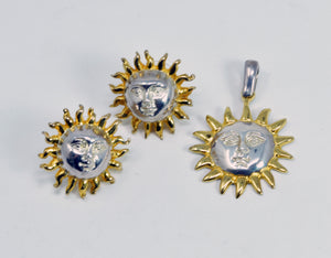 Sergio Bustamante signed Sun Silver Gold Pendant & Post Earrings Set