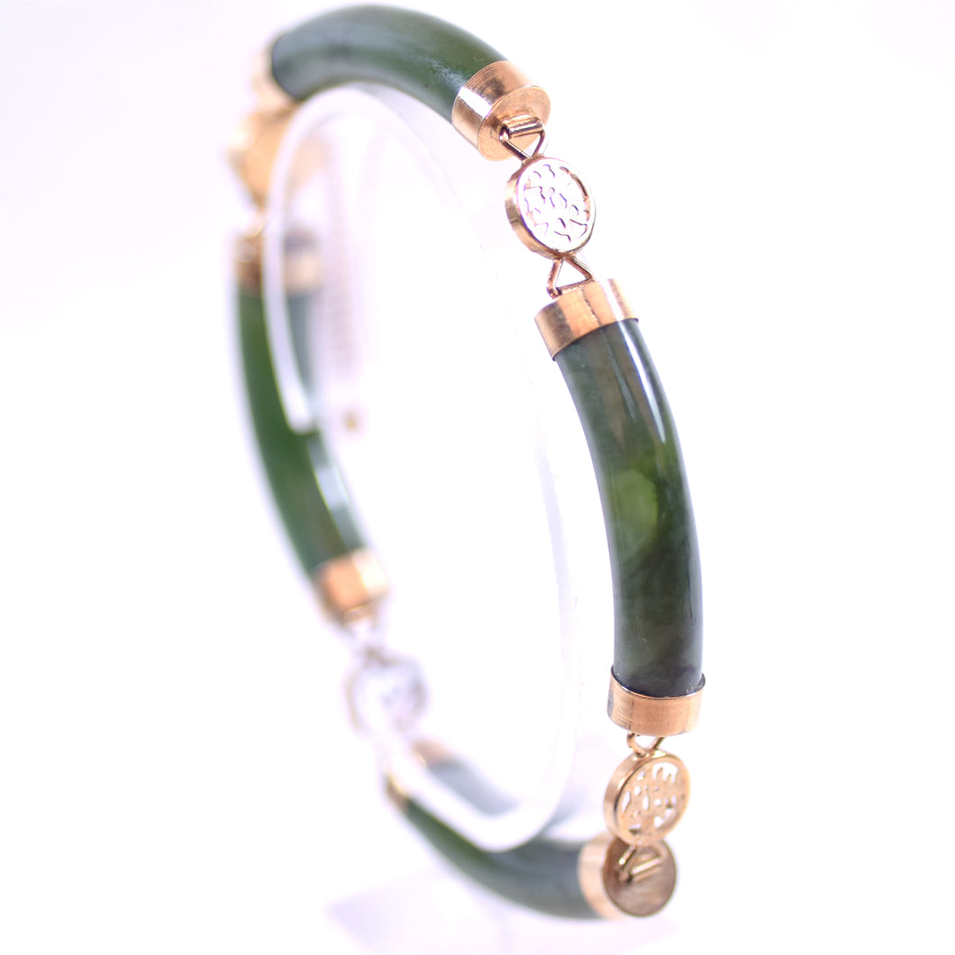 14 Karat Gold and Green Nephrite Jade Chinese Style Jewelry Bracelet