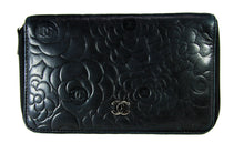 Load image into Gallery viewer, Black Camellia Embossed Lambskin Leather Wallet