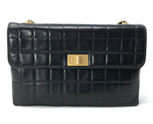 Chanel Black Square Quilted Chocolate Bar Mademoiselle Flap Bag