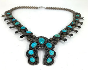 Native American Zuni Sterling Silver & Turquoise Squash Blossom Necklace