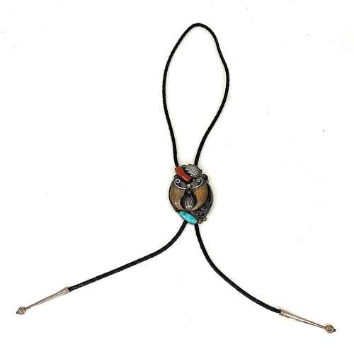 Vintage Navajo Sterling Silver Kingman Turquoise Red Coral Bear Claw Bolo Tie