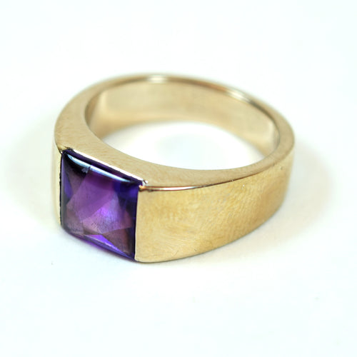 18 Karat White Gold and Amethyst Cartier Tank Solitaire Ring, Size 6
