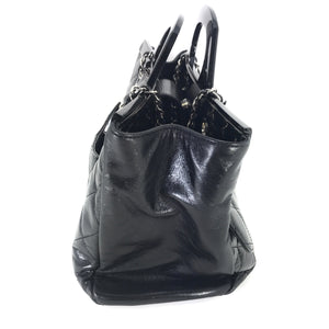 Chanel Black Glazed Calfskin CC Deliver Small Shopping Tote