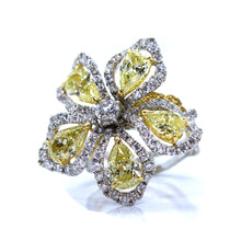 Load image into Gallery viewer, 18K 2-Tone Gold 5.86ctw Multi Color Diamond Flower Twisted Shank Cocktail Ring - Sz. 6¼