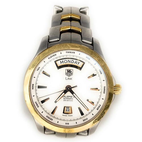 TAG Heuer Link Calibre 5 18K Gold & Stainless Steel Mens Watch - WJF2050
