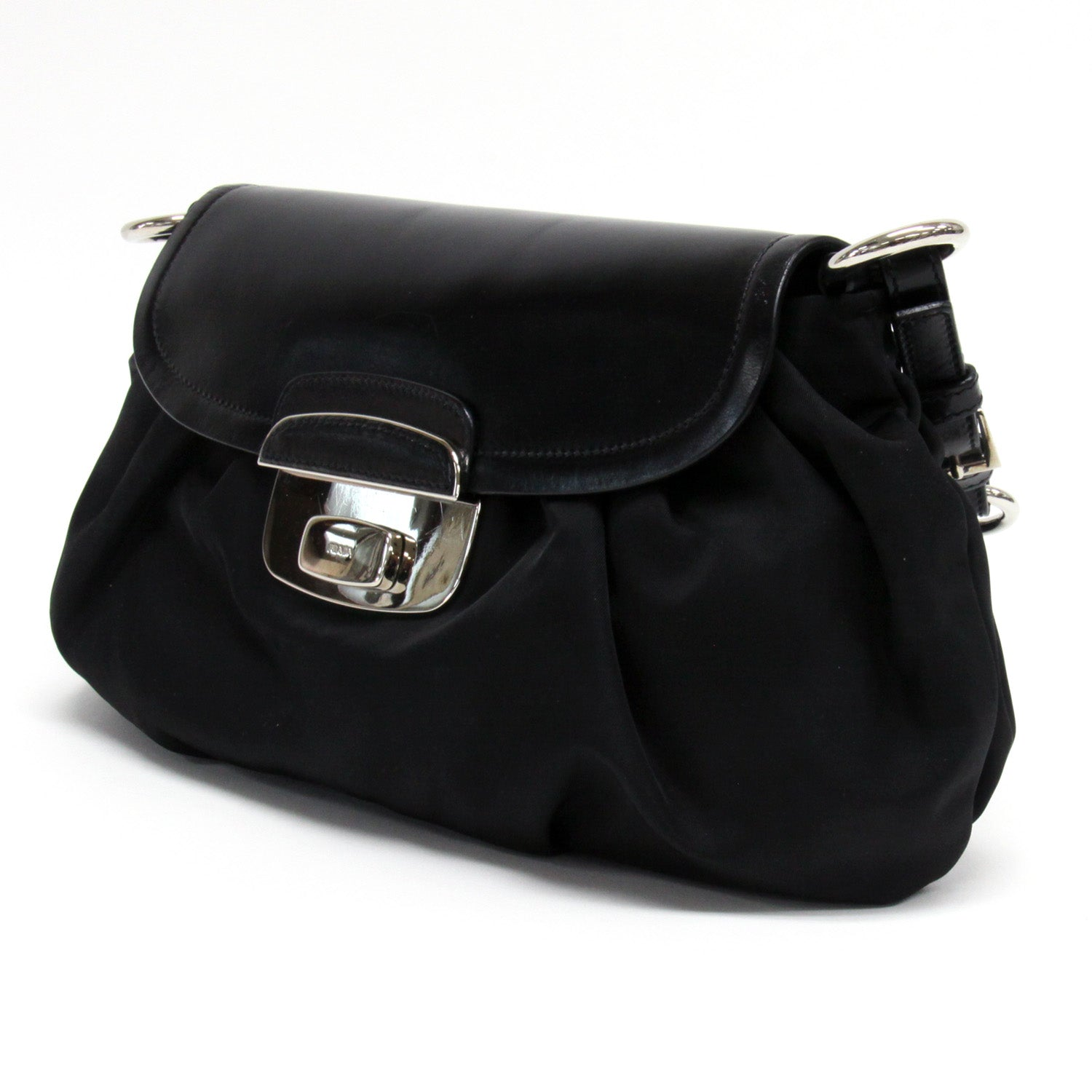 90526d77ae45 ... Load image into Gallery viewer, Prada Black Nylon Leather Silver  Hardware Flap Shoulder Bag ...