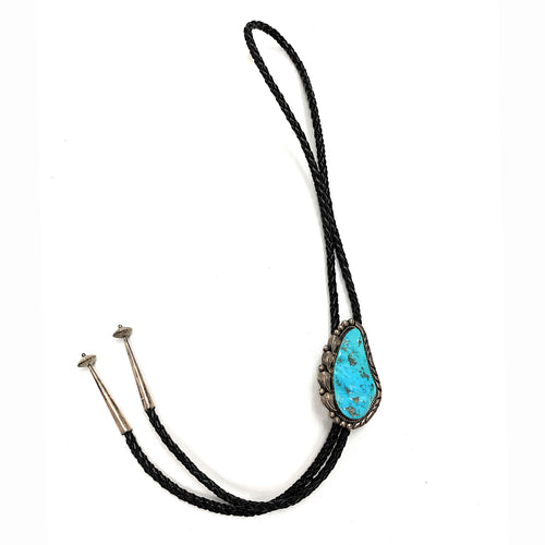 Vintage 1960's Navajo Sterling Silver & Sleeping Turquoise Bolo Tie