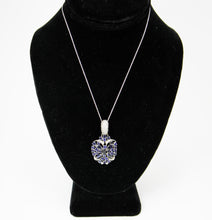 Load image into Gallery viewer, Gorgeous Italian 14K White Gold Necklace with Butterfly Inspired Sapphire and Diamond Pendant