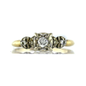 Vintage 1940s .20ctw Diamond Illusion set Engagement Ring in 14K 2-Tone Gold
