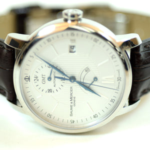 Baume & Mercier Automatic Dual Time Brown Leather Watch