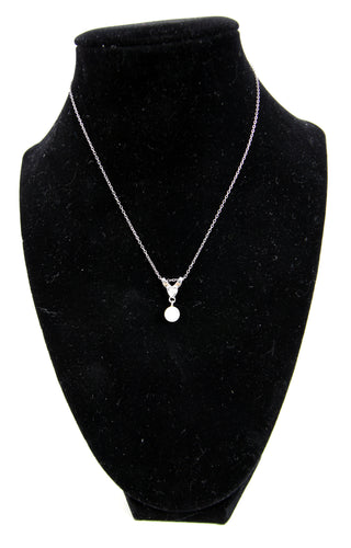 14k White Gold Pearl And Diamond Pendant Necklace 14.5