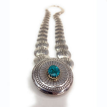 Load image into Gallery viewer, Native American Sterling Silver Lapis Lazuli & Turquoise Pillow Bead Reversible Necklace