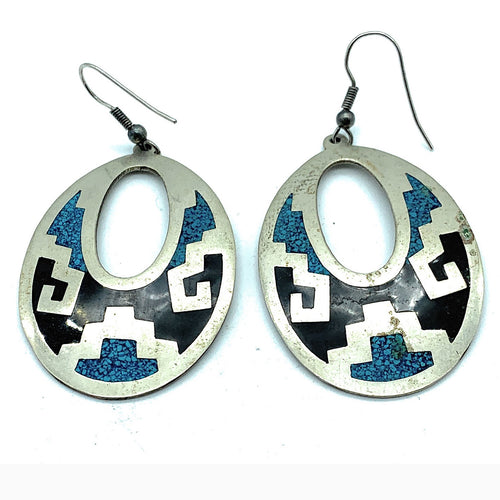 Zuni Sterling Silver Micro Inlay Multi Stone Earrings