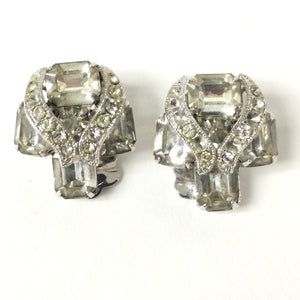 Eisenberg and Weiss Silver-Tone Crystal Earrings and Brooch Pieces