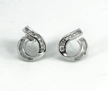 Load image into Gallery viewer, Beautiful Round Cut & Baguette Diamond 14K White Gold Earrings