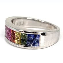 Load image into Gallery viewer, 14K Multi Color Sapphire Eternity Band Channel Set Ring - Sz. 7¼
