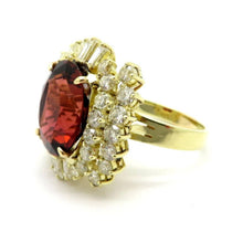 Load image into Gallery viewer, 14 Karat Gold Oval Burnt Orange  Red Tourmaline and Diamond Cluster Ring, Size 8