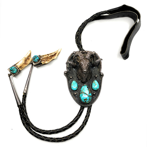 Vintage 1960's Zuni Sterling Silver & Turquoise Rams head Bolo Tie w/ Antler Tips